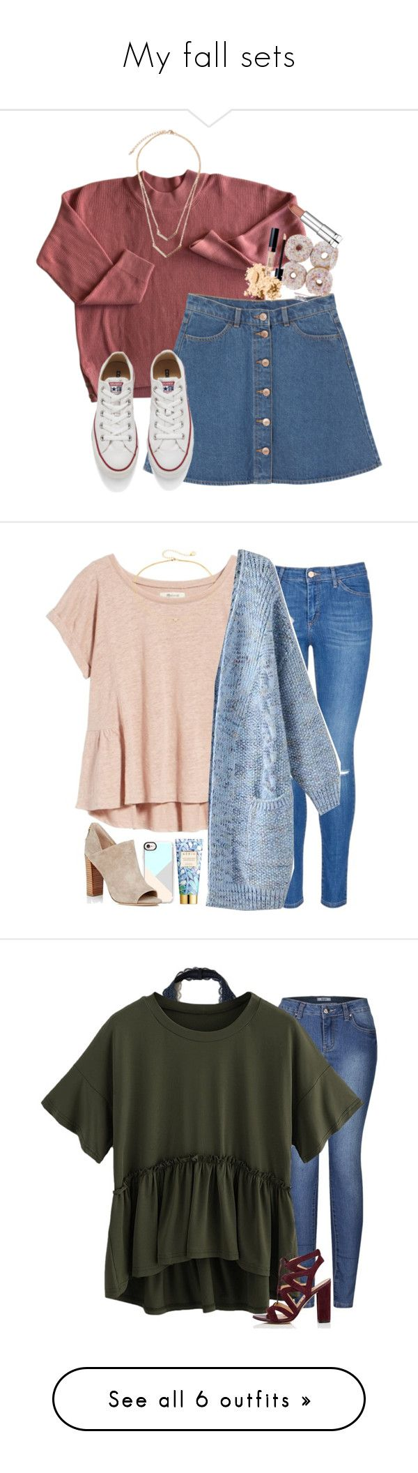 """""""My fall sets"""" by gra-nola ❤ liked on Polyvore featuring T By Alexander Wang, Monki, Converse, Christian Dior, Bobbi Brown Cosmetics, Maybelline, Topshop, Madewell, Cloverpost and AERIN"""