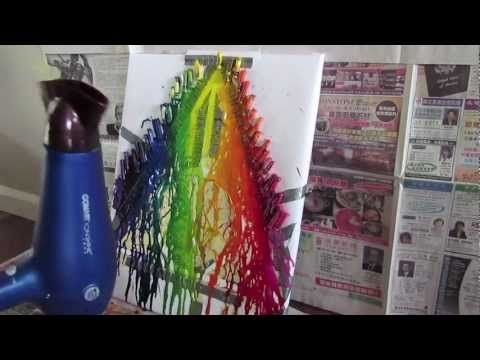 Melting Crayon Art: The Deathly Hallows. This is so cool! Takes ages to get the crayons to melt like that. You can kind of get how to do it but there is no proper tutorial. There is another tutorial though on this board which will show a regular crayon melt(: