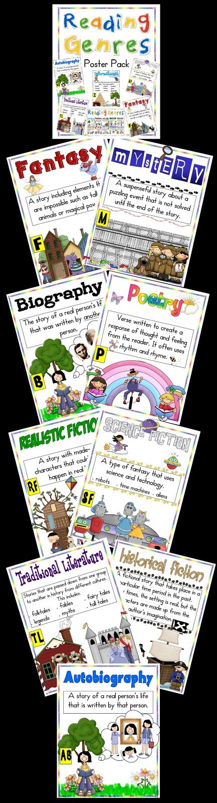 Teaching genres is fun and easy with these colorful posters. My kids refer to them all the time and are absolute pros when it comes to identifying genres!
