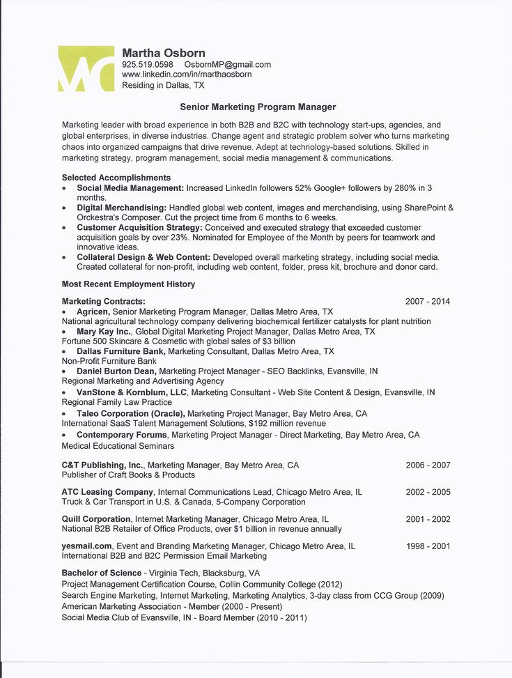 marketing program manager one page resume for martha osborn