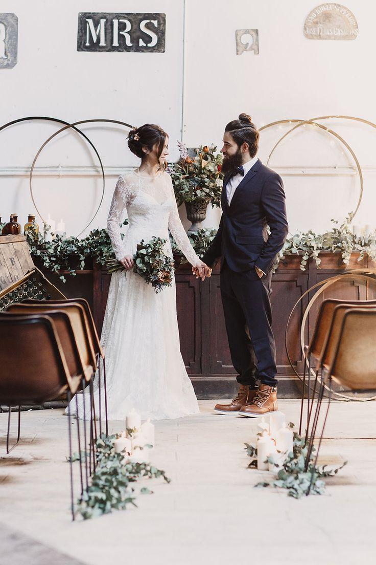 Industrial rustic ceremony ideas #industrialwedding #rusticceremony @weddingchicks