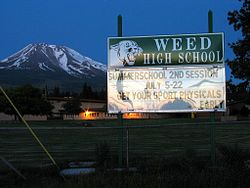 Weed is a city located in Siskiyou County, California, United States. As of the 2010 Census, the town had a total population of 2,967, down from 2,979 in 2000. There are several unincorporated communities adjacent to, or just outside Weed proper. These include Edgewood, Carrick, Lake Shastina, Rancho Hills and Hammond Ranch. These communities generally have mailing addresses that use Weed, or its ZIP code. The total population of this area in 2007 was 6,318....