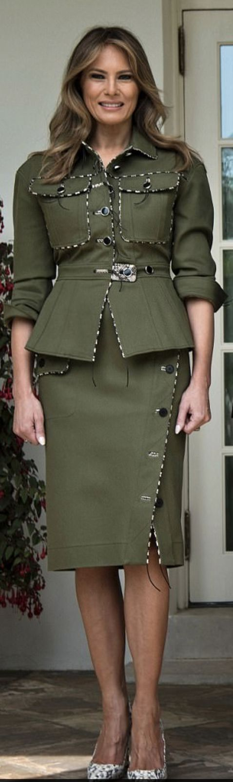 First Lady Melanie Trump ready to greet President of Argentina and his wife. Melania is dressed in Altuzarra, April 27, 2017