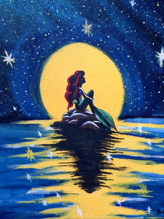 The Little Mermaid Painting on 16 x 20 Canvas by ShelbyMegArt