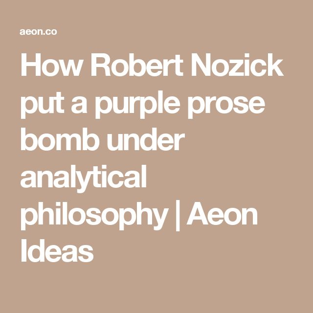 How Robert Nozick put a purple prose bomb under analytical philosophy | Aeon Ideas