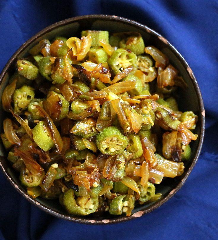 Okra and Onion stir fry. Mom's Pyaaz Waali Bhindi Subzi. Vegan Glutenfree Recipe - Vegan Richa