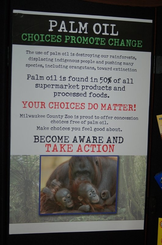 Your choices DO matter! Please say no to palm oil if the company using it as an ingredient can't certify that it came from a sustainable source. The destruction of rainforest for palm oil plantations is happening at a dramatic rate that is sending the Sumatran orangutan, tiger, elephant, and rhino to the brink of extinction.