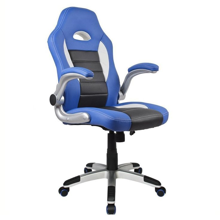 Homall Racing Chair Ergonomic High Back Gaming Chair PU Leather Bucket  Seat,Computer Swivel Lumbar Support Executive Office Chair (Blue)