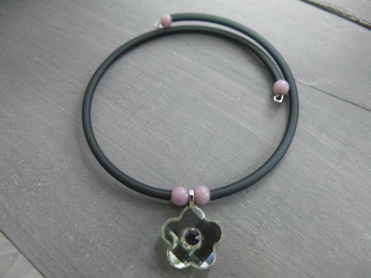 Armreife - Armreif Spiralarmreif mit Kristallanhänger - ein Designerstück von Mimis-Schmuckparadies bei DaWanda