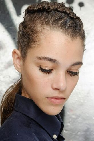 Work your mousse well and pleat the wet look with the fringe all up. Give your forehead the limelight sometimes :) -Veronique Leroy, S/S 2013. #Wetlook #ParelleCosmetics #Summerlook