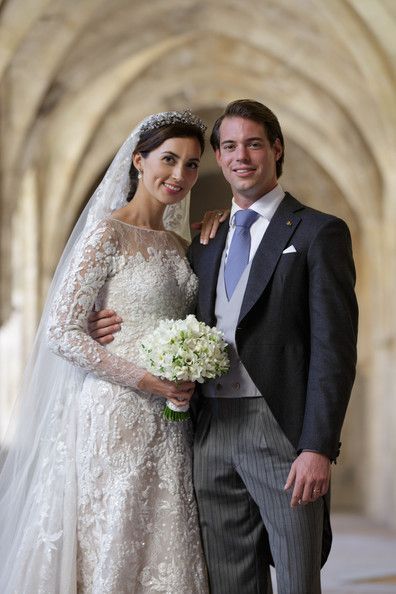 Princess Claire and Prince Felix Of Luxembourg pose for an official photo inside the Couvent Royal De Saint-Maximin after their wedding ceremony on 21 Sep 2013 in France