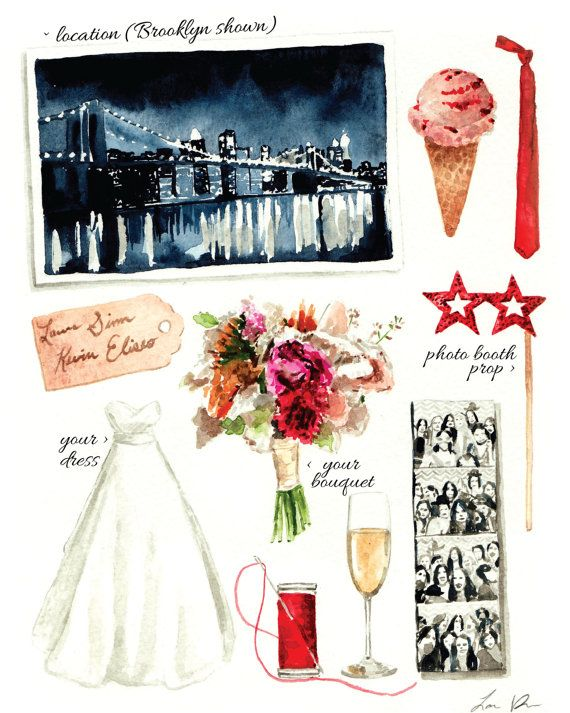 Custom Watercolor Wedding Day Collage 8 x 10 ORIGINAL Watercolor Painting Personalized Memories Wedding Style Modern Wedding Gift Marriage
