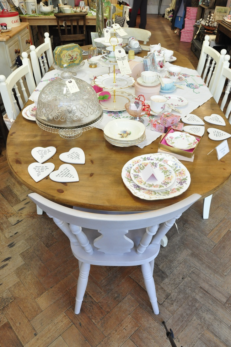 Painted Pine table and tableware