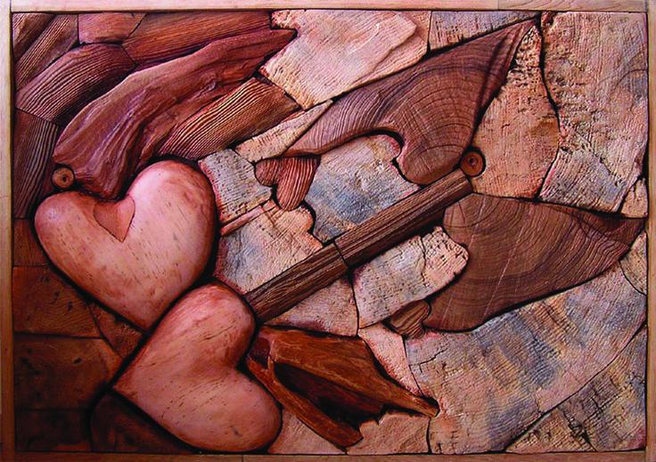 LOVE OF ANGELS, different kinds of wood, 90 x 140 cm / ANDĚLSKÁ LÁSKA, různá dřeva , 90 x 140 cm / Viva wood art