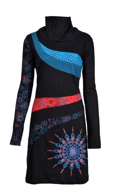 Ladies Long Sleeved High Neck Design Dress with Embroidery - ASTER ( Black-4001)