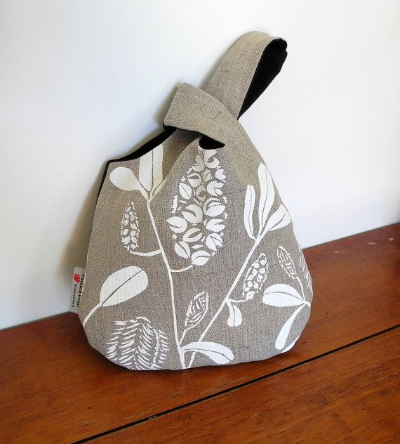 Japanese Knot Bag in Linen - Banksia Design by PalumaPrint