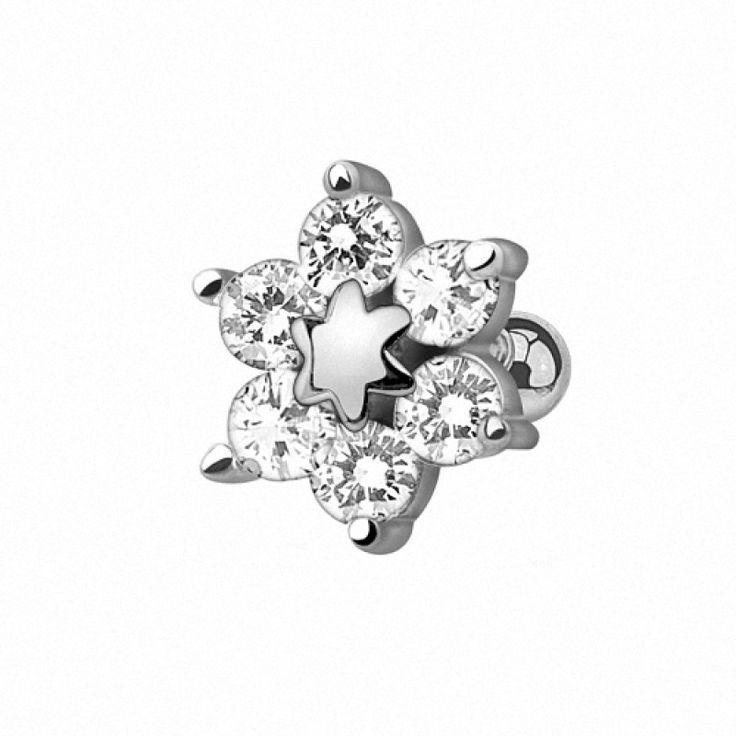Tragus Piercing Ohr Schmuck Cartilage Stecker Blume mit Kristallen