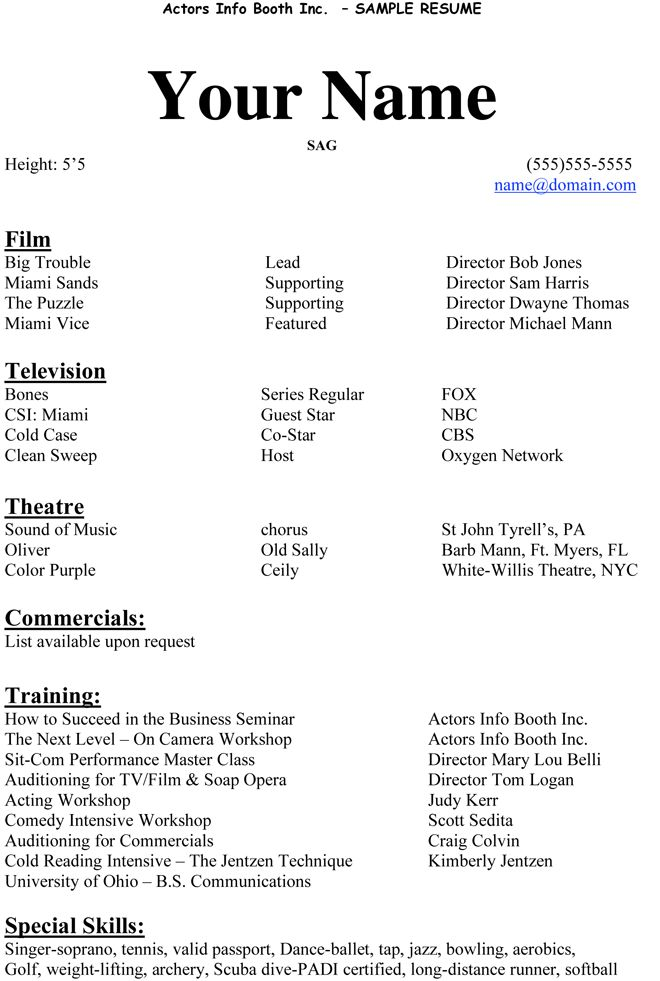 Example Actor Resume Acting Resume Beginner 20 Actors Resume Example  Examples And Free .  Theater Resume Example