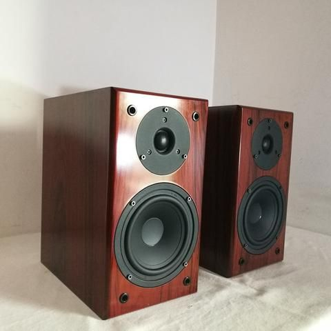 IWISTAO Bookshelf HIFI Speakers Home 1 Pair High Sensitivity Super Bass Speaker Density Board Wooden Raw Wood Veneer Auido