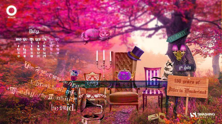 Smashing magazine : Desktop Wallpaper Calendars July 2015 - Alice's Adventures in Wonderland