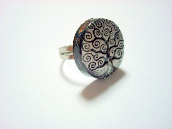 Silver and Black Tree of Life  Handmade Polymer Clay by PennysLane, $6.50: Handmade Polymer Clay