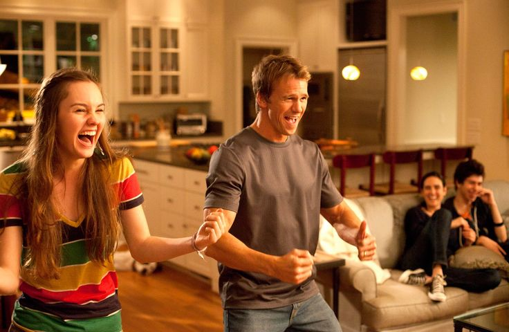 Kate (Liana Liberato) and Ryan (Glenn Powell) test out their dancing skills in Stuck In Love.