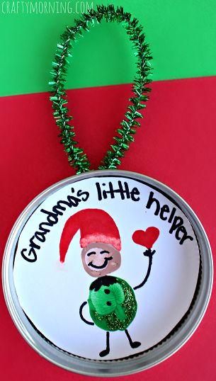 """Little Helper"" Fingerprint Elf Ornament for Kids to Make #Christmas craft and gift idea made with a mason jar lid! | CraftyMorning.com"