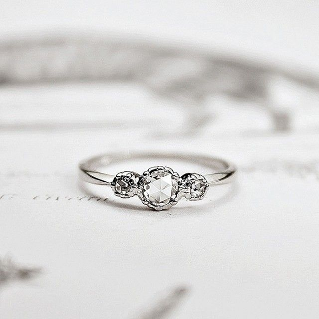 Platinum Rose-Cut Diamond 'Trilogy' Ring