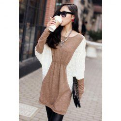 $10.18 Plus Size Color Matching Batwing Long Sleeve Sweater Dresses For Women