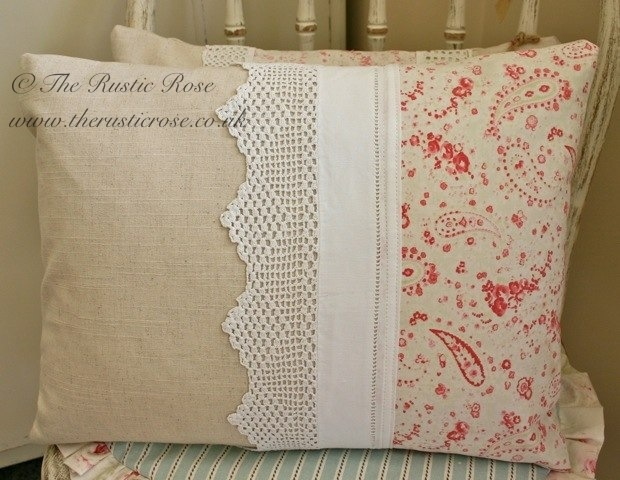 Handmade cushion trimmed with vintage paisley fabric and lace...