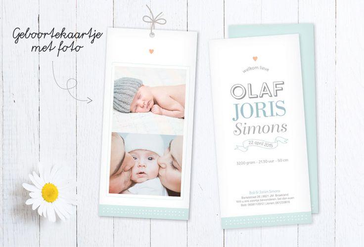 Lief geboortekaartje   foto   newborn   hartje   mint groen   fotokaart   www.charlyfine.nl
