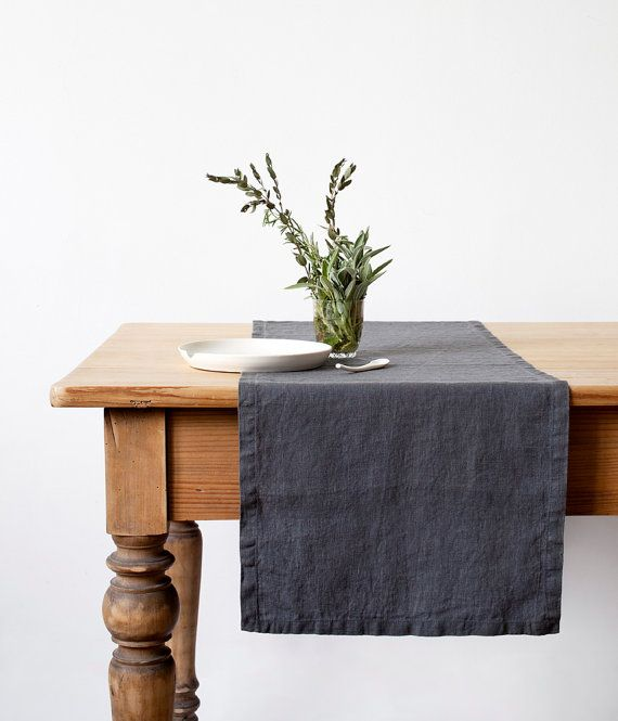 Dark Grey Stone Washed Linen Table Runner by LinenTales on Etsy