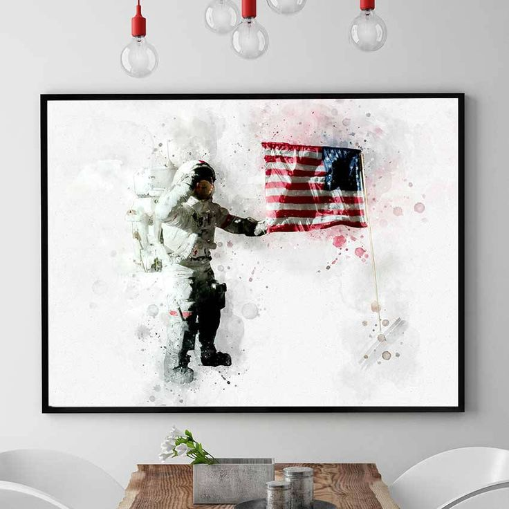 NASA Poster, NASA Astronaut And US Print, Kids Room Astronaut Wall Art, Nasa Decor, Watercolour Space Art, Nursery Decorations (N314) by PointDot on Etsy