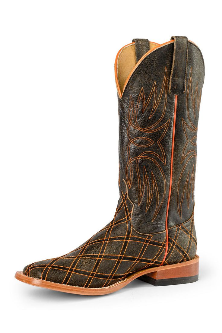 Horsepower Tan Bombardier Orange Stitch Men's Cowboy Boots - HeadWest Outfitters