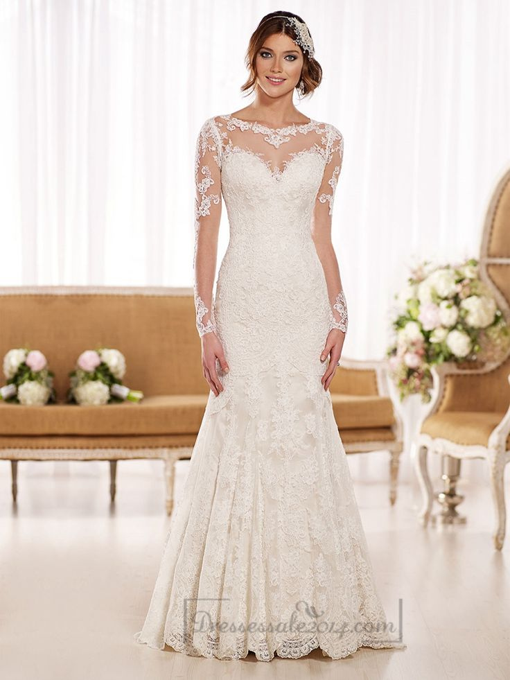 This designer fit-and-flare wedding dress is made from beautiful, vintage-inspired Lace over rich Dolce Satin and features a timeless illusion neckline, back, and sleeves. The back zips up under fabric-covered buttons. Tall, short, or full-figured, this fashion-forward silhouette is ideal for any bride who wants to accentuate her sexy, hourglass figure.