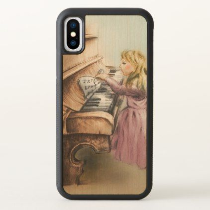 iPhone vintage case - Piano Girl - diy cyo customize create your own #personalize