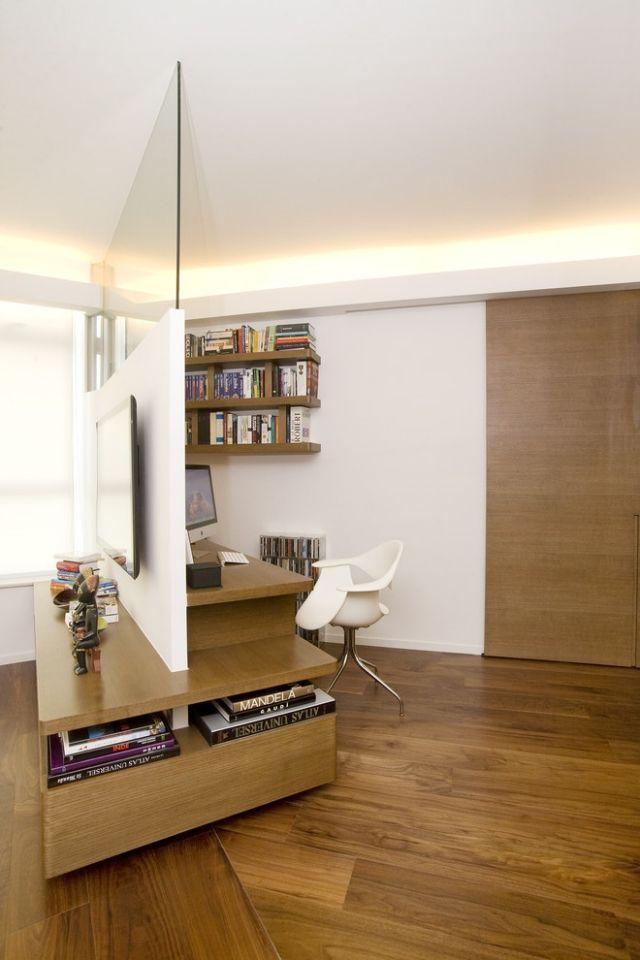 ideen raumteiler wohnwand schlafzimmer arbeitsbereich schreibtisch - Raumteiler Ideen
