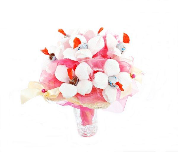 Bukiet z cukierków Biało - Różowy