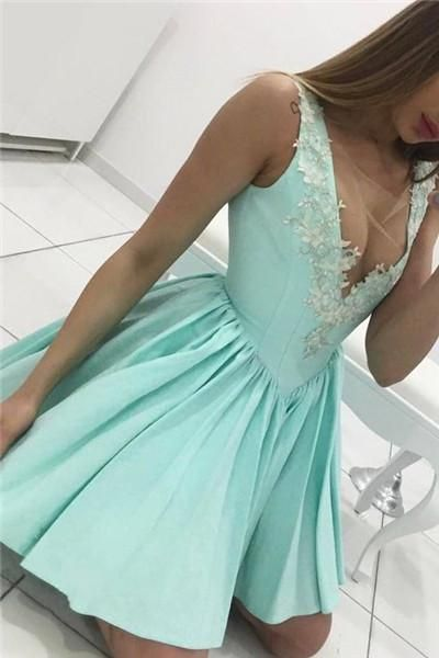Lace mint green homecoming dress, lace appliques prom short dress,elegant party dress,semi formal dresses