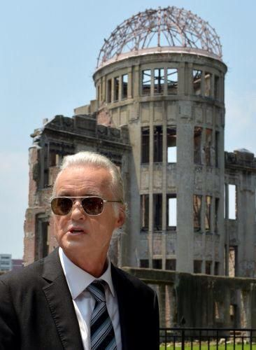 PHOTO: Jimmy Page at the Hiroshima Peace Memorial Park today (Twitter/GenMakitaro)