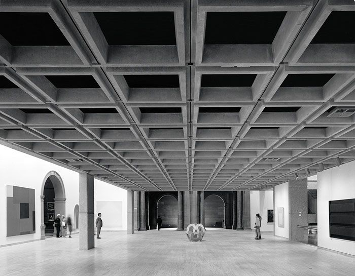 Photograph by Max Dupain of the Art Gallery New South Wales, 1977 – interior view showing coffered concrete ceiling