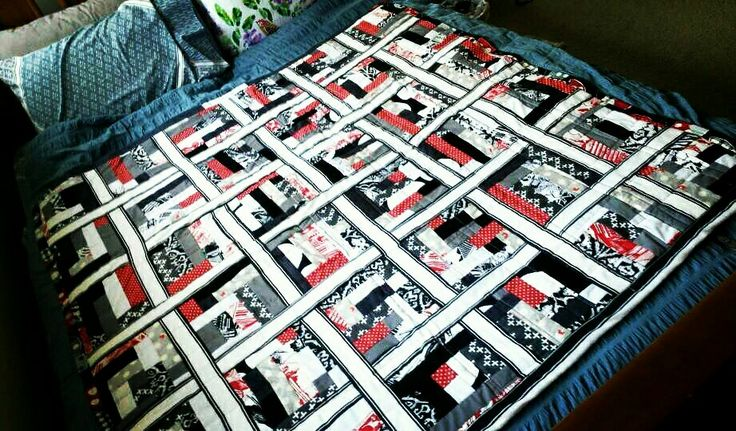 Red, Grey, White and Black Quilt - woven boardering - Queen Size