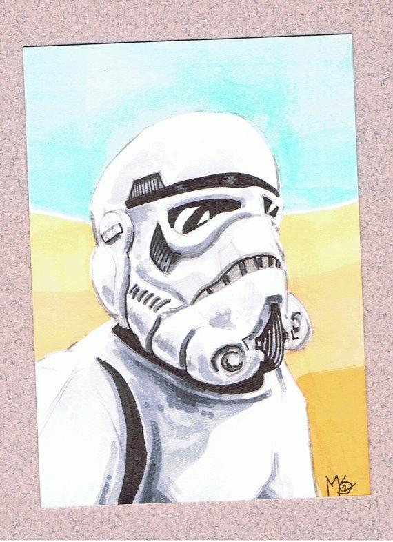 2 Storm Trooper Sketch Cards by StewartIllustrations on Etsy, $30.00