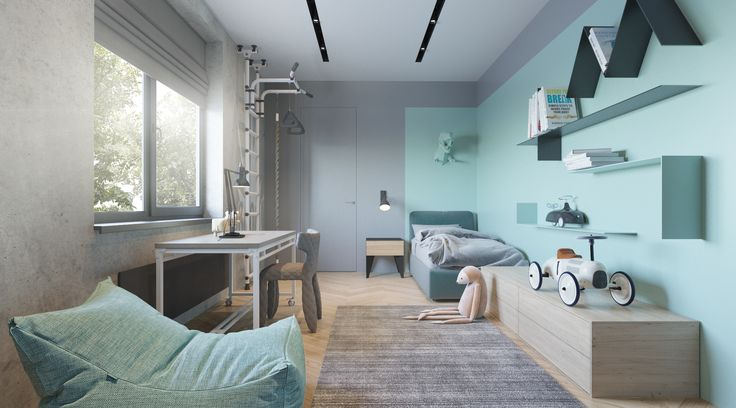 - Colour scheme - Bean bag - Carpet - Concrete wall - Low cupboards - Blinds