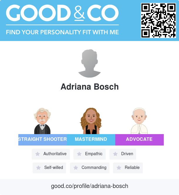 Just took Good&Co's personality test and discovered my personal strengths. Find out how our personalities match on Good&Co!