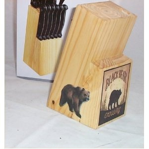 Knife Block Knifes Bear Lodge Cabin Decoration Decor Steak Black Country