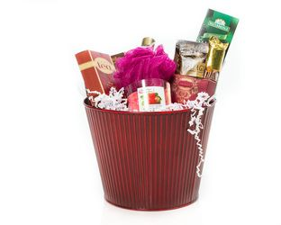 """She's Special"" Basket  Bath and Body Products.  A Candle, Tea, Gourmet Hot Cocoa and Chocolates.    The Best Way To Tell Her ""She's Special""  $90.00 CAD"