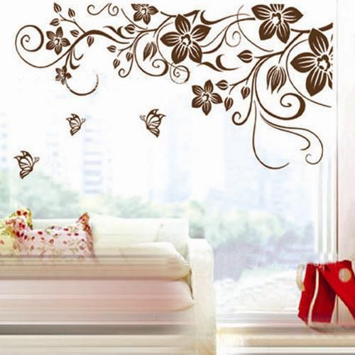 Online Shop Removable Flower And Butterfly Wall Stickers,brown Flower Vine  Wall Art Wall Decal,home Decor Wall Mural Part 35