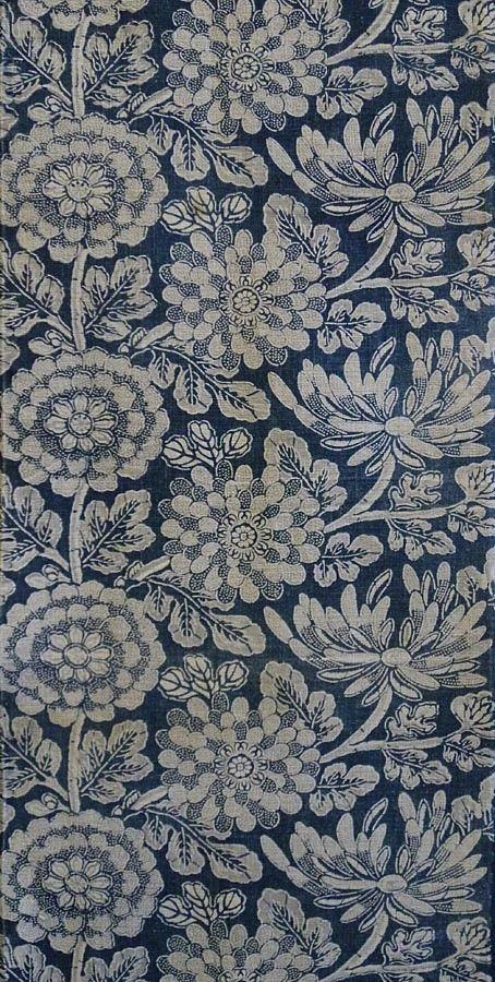 Sri   A Richly Patterned Light Toned Katazome Length: Floral Indigo Dyed Cot