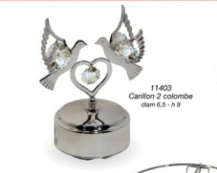 Regali e Bomboniere - Dettaglio prodotto - CRYSTAL TEMPTATIONS - Coppia colombe con carillon CRYSTAL TEMPTATIONS h9cm